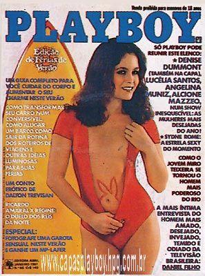 Capa da playboy de janeiro  de 1981 com a Denise Dumont