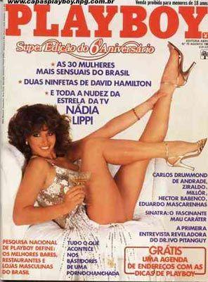 Capa da playboy de agosto  de 1981 com a Nadia Lippi