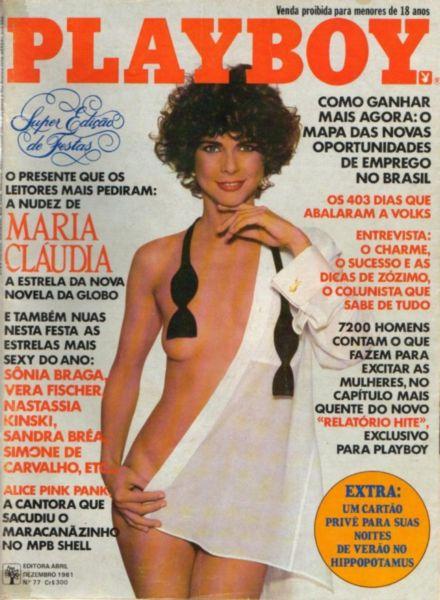 Capa da playboy de dezembro  de 1981 com a Maria Claudia