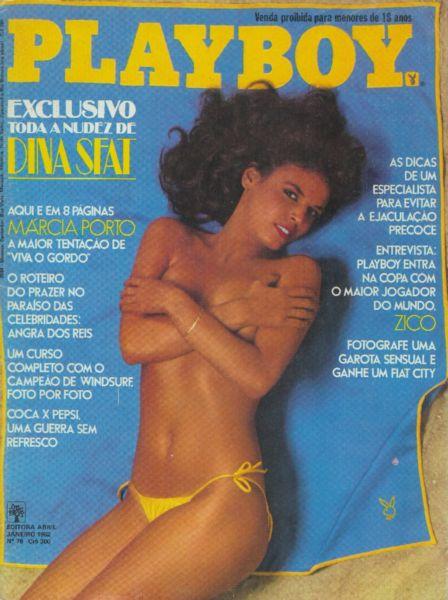 Capa da playboy de janeiro  de 1982 com a Marcia Porto