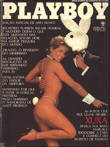 Capa da playboy de dezembro  de 1982 com a Xuxa Meneghel