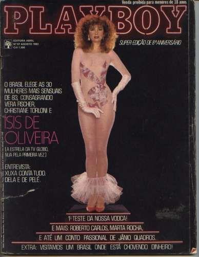 Capa da playboy de agosto  de 1983 com a isis de Oliveira