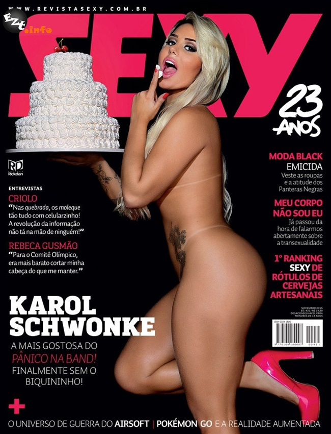 Capa da sexy de novembro  de 2015 com a Karol Schwonke